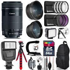 Canon 55-250mm IS STM + Slave Flash + LED Light + Tripod - 64GB Accessory Bundle
