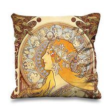 Alphonse mucha zodiac fausse soie 45cm x 45cm canapé coussin