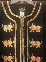 Bob Mackie Elephant Jacket Large 3/4 Sleeves Black Embroidered NWT