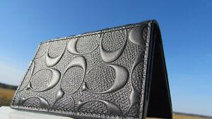 NEW COACH card case leather black signature crossgrain $125 bifold 12023 classic
