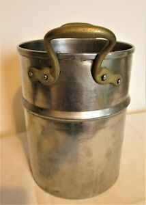 Vintage,Tall Pan/Ban Marie - Steel with Brass Handles