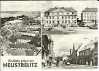 """Ansichtskarte Neustrelitz """"Marktplatz, Strelitzer Straße, Teilansicht"""" - s/w"""