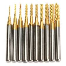 Drillpro 10pcs 0.8-3mm Titanium Coated PCB Drill Bits Carbide Engraving Milling