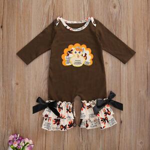 NEW Thanksgiving Turkey Baby Girl Ruffle Romper Jumpsuit