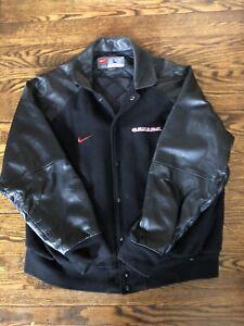 Vintage Nike Team Canada Leather Jacket Letterman Varsity Hockey
