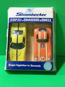 2 Strombecker Slot Cars Ford GT and Cheetah n 1/32 built up box Very Nice