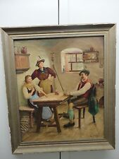 "Vintage German Art Painting Framed OIL on canvas Playing Cards"" To win""  Signed"