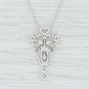 """0.65ctw Diamond Station Heart Lariat Necklace 18k White Gold 17"""" Cable Chain"""