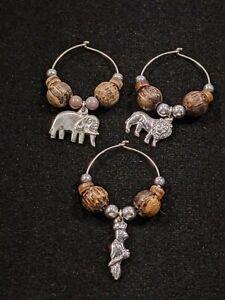 Set Of 3 Silver Tone Wood Elephant Lion Bird Wine Glass Charms 12067