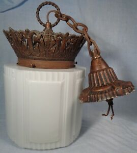 Antique CEILING Hanging Light Fixture WHITE PATTERN GLASS SHADE copper brass