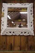 Spiegel Holz Bali 90x80cm Shabby Weiß Handmade