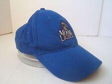 Moose Light Hat Blue Moosehead Beer Hook Loop Baseball Cap