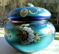 "Fenton Favrene Glass Covered Puff Box ""Honor Collection "" Limited Edition #431"