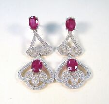 RUBY & WHITE SAPPHIRE EARRINGS 8.72 CTW - WHITE GOLD over 925 STERLING SILVER