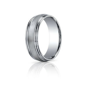 Titanium Double Step Down Edge 8mm Brushed Domed Band Ring Comfort Fit Gray