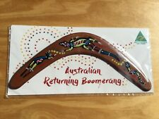 """Australian Made carded 12"""" decorated wood throwing boomerang - Lizard design"""