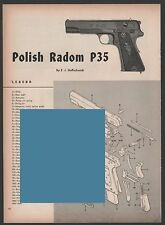 1954 POLISH Radom P35 Pistol Exploded View Parts List 2-page Assembly Article