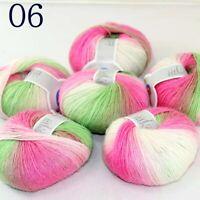 Sale Soft Cashmere Wool Colorful Rainbow Wrap Shawl DIY Hand Knit Yarn 50grx6 06