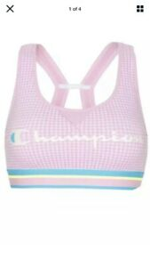 NWT Champion Womens The Authentic Sports Bra, XL Gingham/Ice Cake