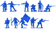 Imex Union Infantry in Mid Blue Color - 11 54mm soft plastic figures in 11 poses