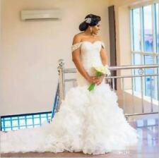 Plus Size Wedding Dress Off Shoulder Ruffles Organza Mermaid Bridal Gown Custom