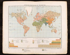 1910s Imperial Russian Antique Colour Map WORLD RELIGIONS