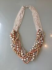 NWOT Mixed Metals And Silver Chain Beaded Bubble Bib Wedding Statement Necklace