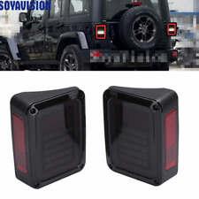 Black LED Tail Lights LED Lamps With Brake for 07-16 Jeep Wrangler JK US Version