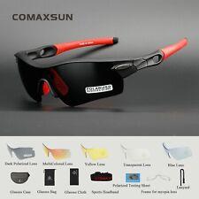 b0ef082d2c Comaxsun Polarized Cycling Glasses Bike MTB Sports Sunglasses 5 Lens  Goggles 805 Black Red