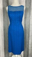 Adrianna Papell Blue Waffle Textured Mesh Straight Occasion Dress Size UK 12