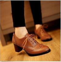 Womens Brogue Chelsea Mid Block Heel Lace Up Oxfords Pumps Preppy Shoes US 4-10