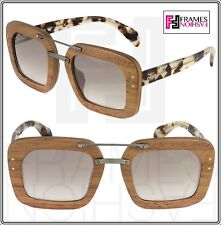 PRADA RAW Baroque Wood Nut Canaletto Sunglasses Brown Silver Mirrored Square 30R