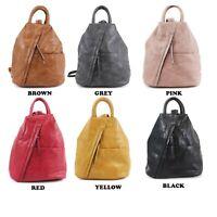 Women's designer style Soft PU leather multi compartment Rucksack anti theft bag