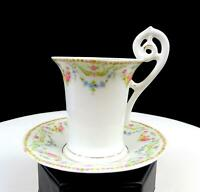 "OLD PARIS MULTICOLOR FLORAL SWAG & GOLD FRAGONARD 3"" CHOCOLATE CUP & SAUCER 1880"
