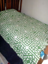 AMAZING 1870s - 1880s Green GOOSE IN THE POND Quilt