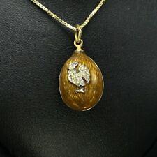 "Faberge Egg Pendant Necklace Enamel Guilloche Swarovski with 16"" Chain Gift Box"