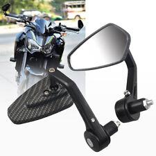 Motorcycle 7/8'' 22mm Carbon Fiber Aluminum Rear View Side Mirror Handle Bar End