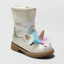 Cat & Jack Toddler Girl Fashion Boots 7 White Unicorn American Girl Hillary New
