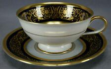 Hutschenreuther Pembroke Pattern Cobalt & Gold Scrollwork Tea Cup & Saucer