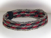Horse Hair Bracelet One Size Fits All  Black/Red with Natural  WIDE