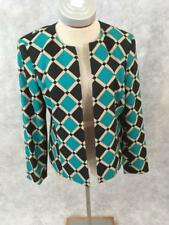 Kasper blazer jacket womens Size 8P petites long sleeve black green tan