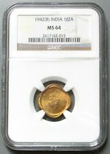 1942 B INDIA -BRITISH 1/2 ANNA KING GEORGE VI COIN NGC MINT STATE 64