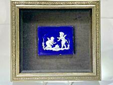 "Antique Rare 1850's  Cobalt Blue Delft Holland ""The Cupids"" Hand Painted Tile"