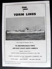 TORM LINES Freight Passenger Ship Service Vtg 1957 Trade Magazine Print Photo Ad