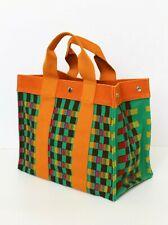 New! HERMES multicolour cotton canvas beach tote beach handbag check extra pouch