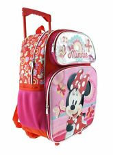 "2018 Disney Minnie Mouse 16"" Shine Pink School Rolling/Roller Backpack"
