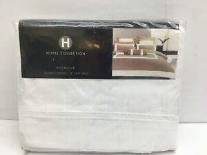 """Hotel Collection White King Double Cording Prima Cotton Bedskirt 16"""" Skirt Drop"""