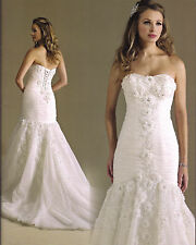 Formal Wedding Dress Bridal Gown Private Label BY G #1476 White/Silver SZ 6 NEW
