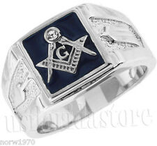 Square Blue Masonic Mason .925 Sterling Silver One Crystal Ring Size 8