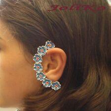 JoliKo Ear cuff Earring Ohrklemme Vergissmeinnicht Blau Rot Blumen Ranke LINKS